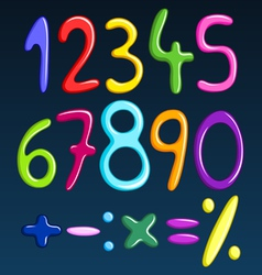 colorful spaghetti numbers vector image vector image