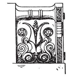 Corner akroter view vintage engraving vector