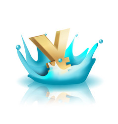 Currency water splash gold yen vector
