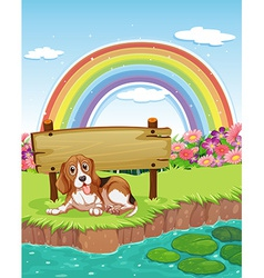 Dog and rainbow vector