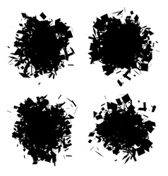 Exploded shape black silhouette collection vector