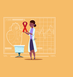 Female african american doctor hold cancer ribbon vector