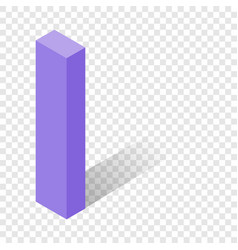I letter in isometric 3d style with shadow vector