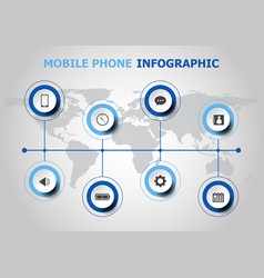 Infographic design with mobile phone icons vector