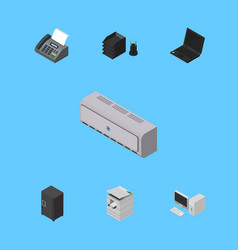 Isometric business set of strongbox desk file vector
