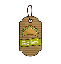 Label fast food tacos mexican culture vector