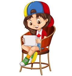 Little girl playing game on tablet vector