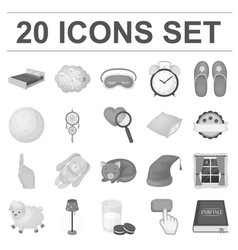 rest and sleep monochrome icons in set collection vector image vector image