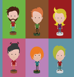 Set of diverse avatars with different hairs vector