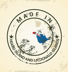 Stamp with map flag of heard island and mcdonald vector