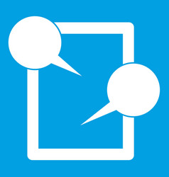 Tablet chatting icon white vector