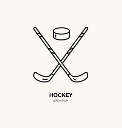 thin line icon of hockey stick and puck vector image vector image