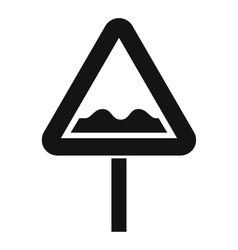 Uneven triangular road sign icon simple style vector
