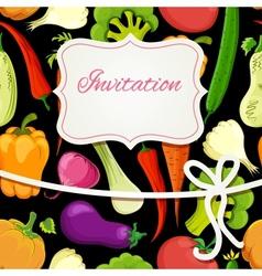 vegetable cartoon invitation card vector image vector image