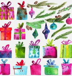 Watercolor christmas set with gift boxes holly vector