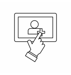 Hand pointing finger to tablet screen icon vector