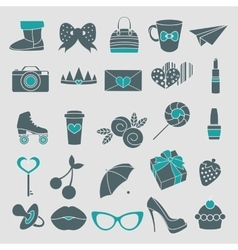 isolated icons glamor stickers and labeles vector image