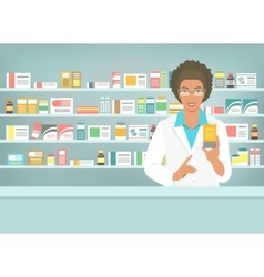 Pharmacist black woman with medicine in pharmacy vector
