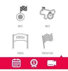 Finish flag race timer and wheel icons vector