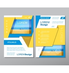 Yellow fold set annual report brochure flyer vector