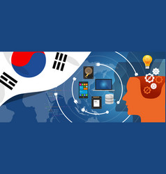 South korea it information technology digital vector