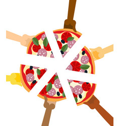 People eating pizza hands holding slice of pie vector