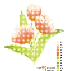 Bouquet of tulips The scheme for beadwork vector image