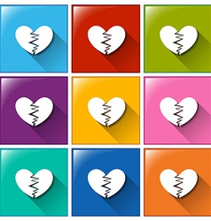 Broken heart buttons vector