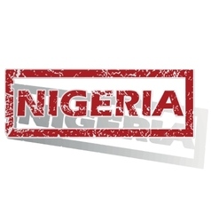 Nigeria outlined stamp vector