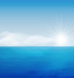Sea landscape sunrise blue ocean vector