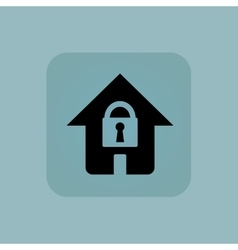 Pale blue locked house icon vector