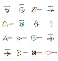 Set of linear arrow abstract logos connected vector