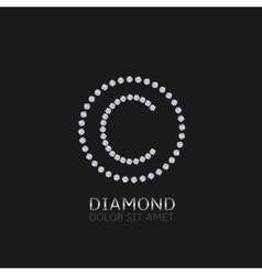 C letter with diamonds vector image