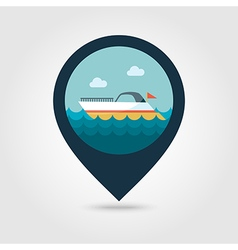 Ship boat pin map icon summer vacation vector