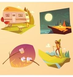 Camping and hiking cartoon set vector