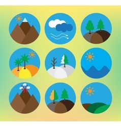 Landscape icon set vector