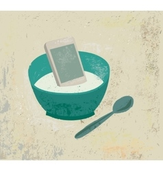 Breakfast information food mobile phone in plate vector