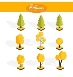 Isometric autumn trees set vector