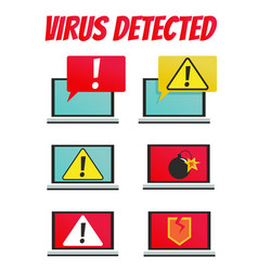 a computer with a virus set vector image vector image