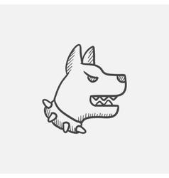 Aggressive police dog sketch icon vector image vector image