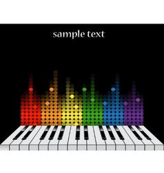 Background with piano keys and colorful equalizer vector