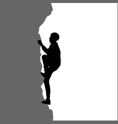 black silhouette rock climber on white background vector image vector image