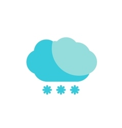 blue cloud snow colored flat icon vector image vector image