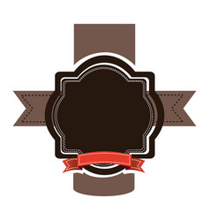 brown emblem with red ribbon and symbols icon vector image vector image