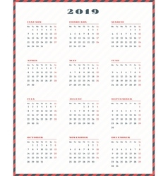 Calendar for 2019 year Week starts Monday vector image vector image