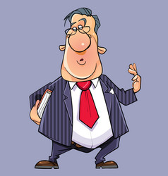 cartoon talking funny man in a suit with a tie vector image vector image