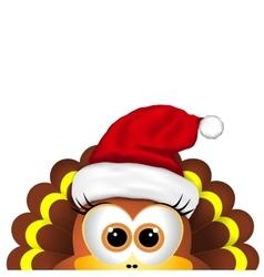 Cartoon turkey in Santa hat Card for Christmas vector image vector image