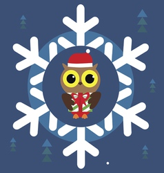 Christmas holiday print with cute owl vector