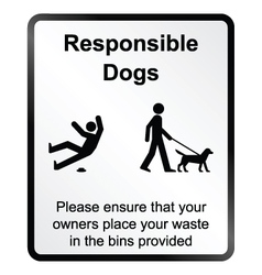 Comical responsible dogs information sign vector