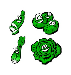 Cucumber brussels sprouts celery lettuce vector